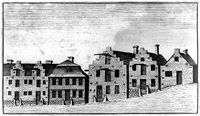 This 1789 etching shows the Dutch influence on the architecture of early Albany.