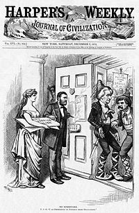 Cartoonist Thomas Nast praises Grant for rejecting demands by Pennsylvania politicians to suspend civil service rules.