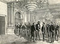 King Kalākaua of Hawaii meets President Grant at the White House on his state visit, 1874. Published January 2, 1875