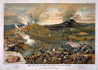 Union troops swarm Missionary Ridge and defeat Bragg's army. Published 1886