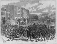 """Image of mobs rioting entitled """"The Louisiana Outrage"""". White Leaguers at Liberty Place attacked the integrated police force and state militia, New Orleans, September 1874. Published October 1874"""