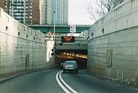 Entrance to the Holland Tunnel, which carries high amounts of vehicular traffic from New Jersey to Lower Manhattan