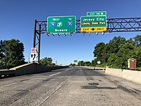 I-78, the New Jersey Turnpike Newark Bay Extension, westbound at Exit 14B in Jersey City