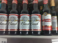 """American Budweiser is sold in most of the European Union as """"Bud"""" (left). At right is a bottle of Czech Budweiser"""