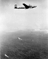 A B-29 Superfortress dropping mines