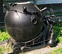 Polish wz. 08/39 contact mine. The protuberances near the top of the mine, here with their protective covers, are called Hertz horns, and these trigger the mine's detonation when a ship bumps into them.