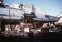 In 1988, an Iranian M-08 mine made a 25 ft hole in the hull of the frigate, forcing the ship to seek temporary repairs in a dry dock in Dubai, UAE.