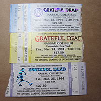Mail-ordered Grateful Dead concert tickets for their spring 1994 Nassau Coliseum run of shows