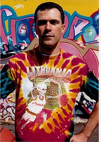 """New York artist Greg Speirs wearing the """"Skully"""" tie-dyed T-shirt which he designed and became a symbol of Lithuanian basketball"""