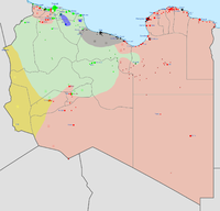 Military situation in Libya in early 2016: Location dot grey.svg Ansar al-Sharia Location dot black.svg Islamic State