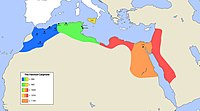 Map of the Fatimid Caliphate at its largest extent in the early 11th century