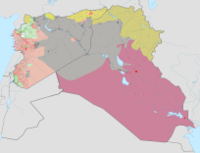 ISIL's territory, in grey, at the time of its greatest territorial extent in May 2015