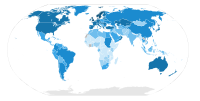 Television sets per 1000 people of the world