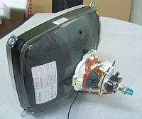 A 14-inch cathode ray tube showing its deflection coils and electron guns