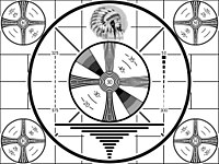 Indian-head test pattern used during the black & white era before 1970. It was displayed when a TV station first signed on every day.