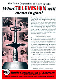 Ad for the beginning of experimental television broadcasting in New York City by RCA in 1939
