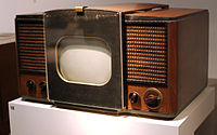 RCA 630-TS, the first mass-produced television set, which sold in 1946–1947