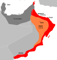 The split between the interior region (orange) and the coastal region (red) of Oman and Muscat.