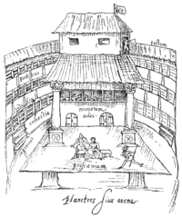 A 1596 sketch of a performance in progress on the thrust stage of The Swan, a typical Elizabethan open-roof playhouse.