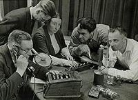 Recording a radio play in the Netherlands (1949; Spaarnestad Photo).