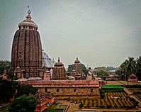 The backside of the Jagannath temple with the 'Koili Baikuntha' garden in the foreground.