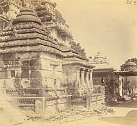 Cluster of minor temples in the southern part of Jagannath temple complex, including the Vimala Temple (extreme right). c. 1890.