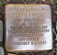 A Stolperstein for Frank at the Pastorplatz in Aachen, Germany