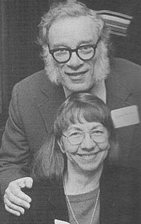 """Asimov with his second wife, Janet. """"They became a permanent feature of my face, and it is now difficult to believe early photographs that show me without sideburns."""" (Photo by Jay Kay Klein.)"""