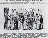 """Caricature mocking the """"cortège of relics"""" (Uilenspiegel, 16 August 1873)"""