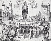 Procession with relics at the opening of the Treasury (detail of a print, 1873)