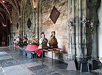 Reliquary busts in the cloisters of Our Lady's, waiting for the relics display, 2018