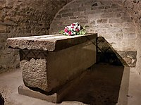 The crypt of Saint Servatius in the Basilica of St Servatius. The Frankish sarcophagus was added later
