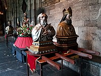 Processional litters with busts of Bartholomew, Hubert & others, cloisters of Our Lady's