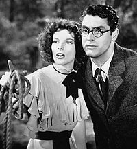 Hepburn made four films with Cary Grant. They are seen here in Bringing Up Baby (1938), which flopped on release, but has since become renowned as a classic screwball comedy.