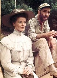 Hepburn often worked abroad in the 1950s, beginning with The African Queen. With co-star Humphrey Bogart.