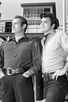 Reynolds (right) with Darren McGavin in Riverboat