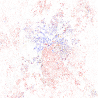 Map of racial distribution in Charlotte, 2010 U.S. Census. Each dot is 25 people: White, Black, Asian Hispanic , or Other