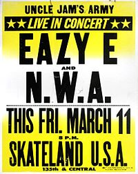 Poster for one of N.W.A's first concerts at a Compton skating rink, 1988