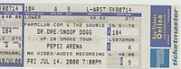 Ticket for Dr. Dre's Up in Smoke Tour in Albany, New York, July 2000.