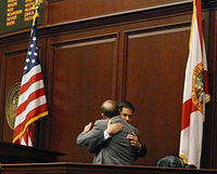 House Speaker Rubio and Senate President Ken Pruitt embrace after the House's unanimous approval of the Senate's resolution to formally express deep regret for slavery. March 2008