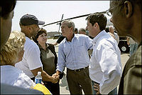 New Orleans Mayor Ray Nagin, Louisiana Governor Kathleen Blanco, President Bush and Louisiana Senator David Vitter meet September 2, 2005 in the aftermath of Hurricane Katrina.