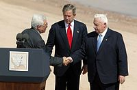 President of the Palestinian Authority Mahmoud Abbas, President Bush, and Israeli Prime Minister Ariel Sharon in June 2003.