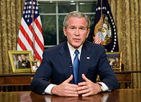 President George W. Bush outlining his comprehensive immigration reform proposal in a television address.