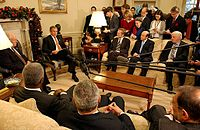 President George W. Bush discussing the Israeli–Palestinian issue with various world leaders.