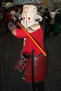 A fan cosplaying as Juggernaut, one of the game's 119 playable characters