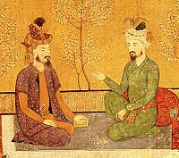 Humayun with his father Babur, emperors of the Mughal Empire
