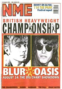 The UK media extensively covered the chart battle between Blur and Oasis. The anticipation over who would be number one in the week leading up to the chart being announced saw Albarn (left) appear on the ITV News at Ten.