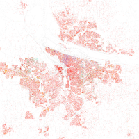 Map of racial distribution in Portland, 2010 U.S. Census. Each dot represents 25 people, according to the following color code: White, Black, Asian , Hispanic or Other (yellow).