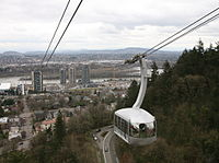 The Portland Aerial Tram connects the South Waterfront district with OHSU
