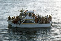 An overloaded boat of Marielitos in Key West.